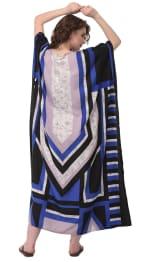 Blue Wide Sleeve Maxi Kaftan Dress - Plus - Blue - Back