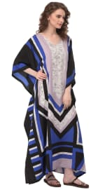 Blue Wide Sleeve Maxi Kaftan Dress - Plus - 3