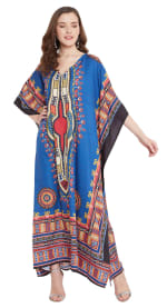 Blue V-Neck Maxi Kaftan Dress - Plus - 7