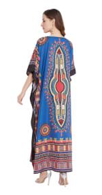 Blue V-Neck Maxi Kaftan Dress - Plus - 2