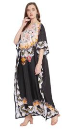 Black Wide Sleeve Maxi Kaftan Dress - Plus - 4