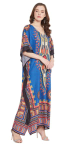 Blue V-Neck Maxi Kaftan Dress - Plus - 5