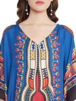 Blue V-Neck Maxi Kaftan Dress - Plus - 3