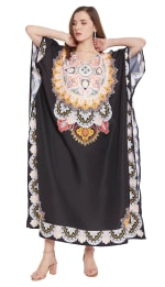Black Wide Sleeve Maxi Kaftan Dress - Plus - 7