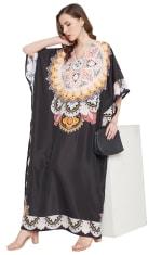 Black Wide Sleeve Maxi Kaftan Dress - Plus - 6