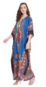 Blue V-Neck Maxi Kaftan Dress - Plus - 4
