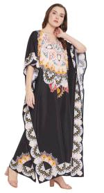 Black Wide Sleeve Maxi Kaftan Dress - Plus - 5