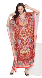 Red Wide Sleeve Maxi Kaftan Dress - Plus - 4