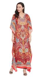 Red Wide Sleeve Maxi Kaftan Dress - Plus - 3