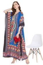 Blue V-Neck Maxi Kaftan Dress - Plus - 6