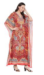 Red Wide Sleeve Maxi Kaftan Dress - Plus - 5