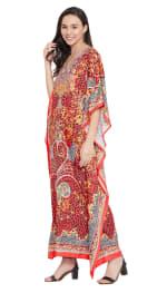 Red Wide Sleeve Maxi Kaftan Dress - Plus - 6