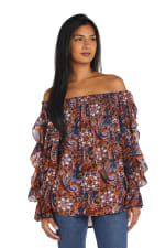 Westport Floral Ruffle Sleeve Blouse - Misses - Navy - Front