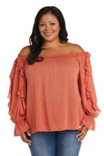 """Westport """"On And Off The Shoulder"""" Ruffle Sleeve Blouse - Plus - 3"""