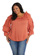 """Westport """"On And Off The Shoulder"""" Ruffle Sleeve Blouse - Plus - 6"""
