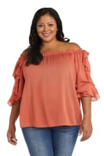 """Westport """"On And Off The Shoulder"""" Ruffle Sleeve Blouse - Plus - 1"""