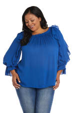 """Westport """"On And Off The Shoulder"""" Ruffle Sleeve Blouse - Plus - 9"""