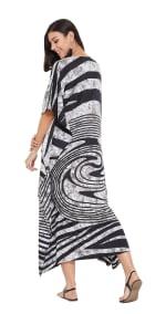 Black Maxi Kaftan Dress - Plus - Black - Back