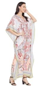 V-Neck Maxi Kaftan Dress - Plus - 4