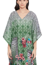 Dark Green V-Neck Maxi Kaftan Dress - Plus - 3