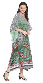 Dark Green V-Neck Maxi Kaftan Dress - Plus - 4