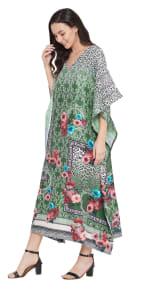 Dark Green V-Neck Maxi Kaftan Dress - Plus - 5