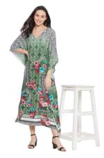 Dark Green V-Neck Maxi Kaftan Dress - Plus - 6
