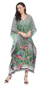 Dark Green V-Neck Maxi Kaftan Dress - Plus - 7