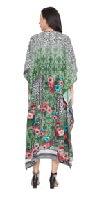 Dark Green V-Neck Maxi Kaftan Dress - Plus - 2