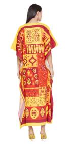 V-Neck Maxi Kaftan Dress - Plus - Yellow / Red - Back
