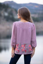 Mauve Embroidered Pintuck Blouse - Misses - Mauve - Back