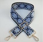 Adjustable Blue Shoulder Strap - Gold - Front