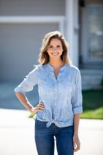 Chambray Embroidered Button Front Shirt - Misses - 3