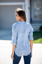 Chambray Embroidered Button Front Shirt - Misses - 2