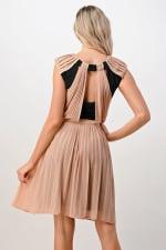 KAII Color Blocked Pleated Dress - Taupe / Black - Back