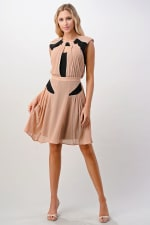 KAII Color Blocked Pleated Dress - Taupe / Black - Front