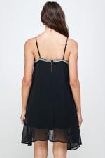 KAII Micro Chain Fringe Dress - Black - Back