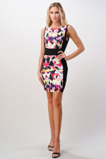 KAII Kaleidoscope Printed Boat Neck Dress - Black / Coral  - Front
