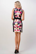 KAII Kaleidoscope Printed Boat Neck Dress - Black / Coral  - Back