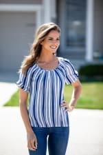 Denim Friendly Stripe Bubble Hem Blouse - Misses - 8