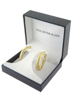 Boxed Gold Over Fine Silver Plated 32mm Diamond Cut Dome Hoops - 1