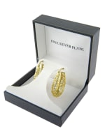 Boxed Gold Over Fine Silver Plated 30mm Oval Filigree Hoops - 3