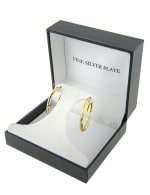 Boxed Gold Over Fine Silver Plated 20x27mm Diamond Cut Oval Hoops - 3