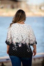 Roz &  Ali Border Dot Crepe Bubble Hem Blouse - Plus - Blush/Ivory/Black - Back