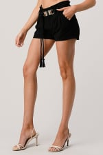 Kaii Paper Bag Waist With Rope Belted Shorts - 5