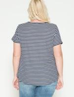 Westport Screen Print Stripe Rib Tee - Plus - Navy - Back