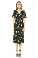Feliicty Bubble Sleeve Midi Dress - Yellow Floral - Front