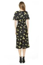 Feliicty Bubble Sleeve Midi Dress - Yellow Floral - Back
