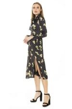 Gemma Bow Tie Button Down Dress - Yellow Floral - Detail