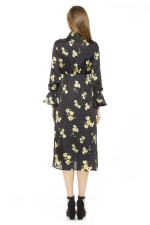 Gemma Bow Tie Button Down Dress - Yellow Floral - Back